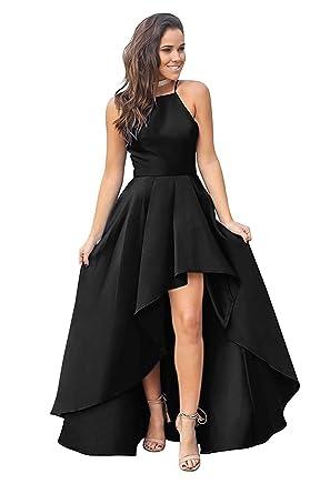 9cdf7436aa8 Fanciest Women's Halter High Low Prom Dresses 2019 Satin Formal Evening  Dress Black US2