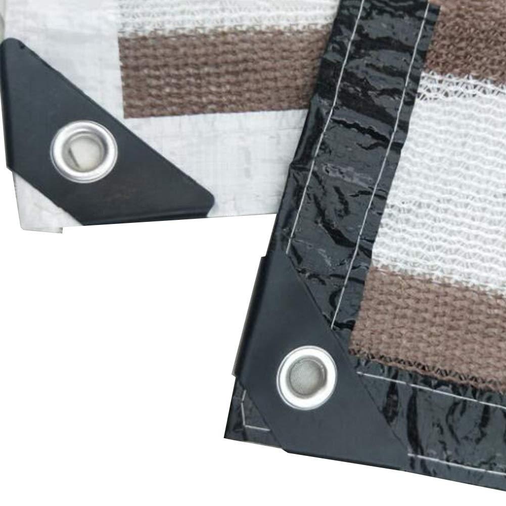 XUERUI シェルター シェードファブリック 日よけ布 テーピングエッジ と グロメット サンブロック メッシュシェード パーゴラカバーキャノピー スポーツ アウトドア (Color : 褐色, Size : 3x10m) 褐色 3x10m