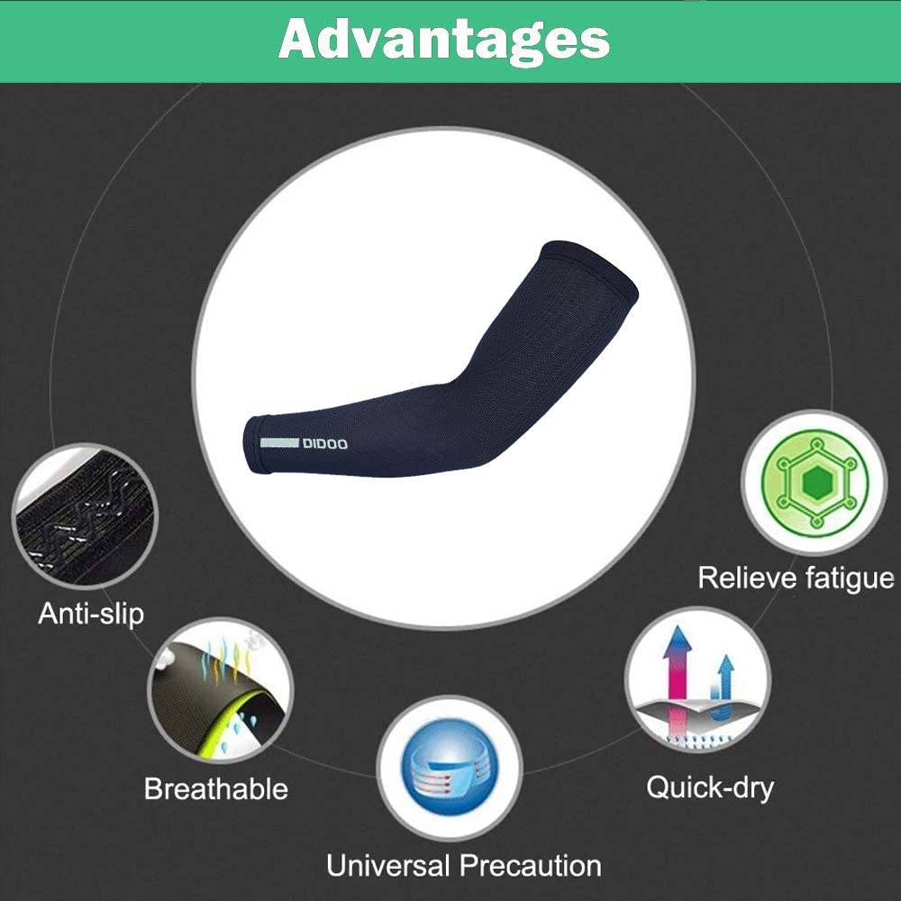 Didoo Cycling Arm Sleeves Compression Warmers UV Protection Moisture Wicking /& Stretch Muscle Support For Winter MTB Bicycle Riding Pair