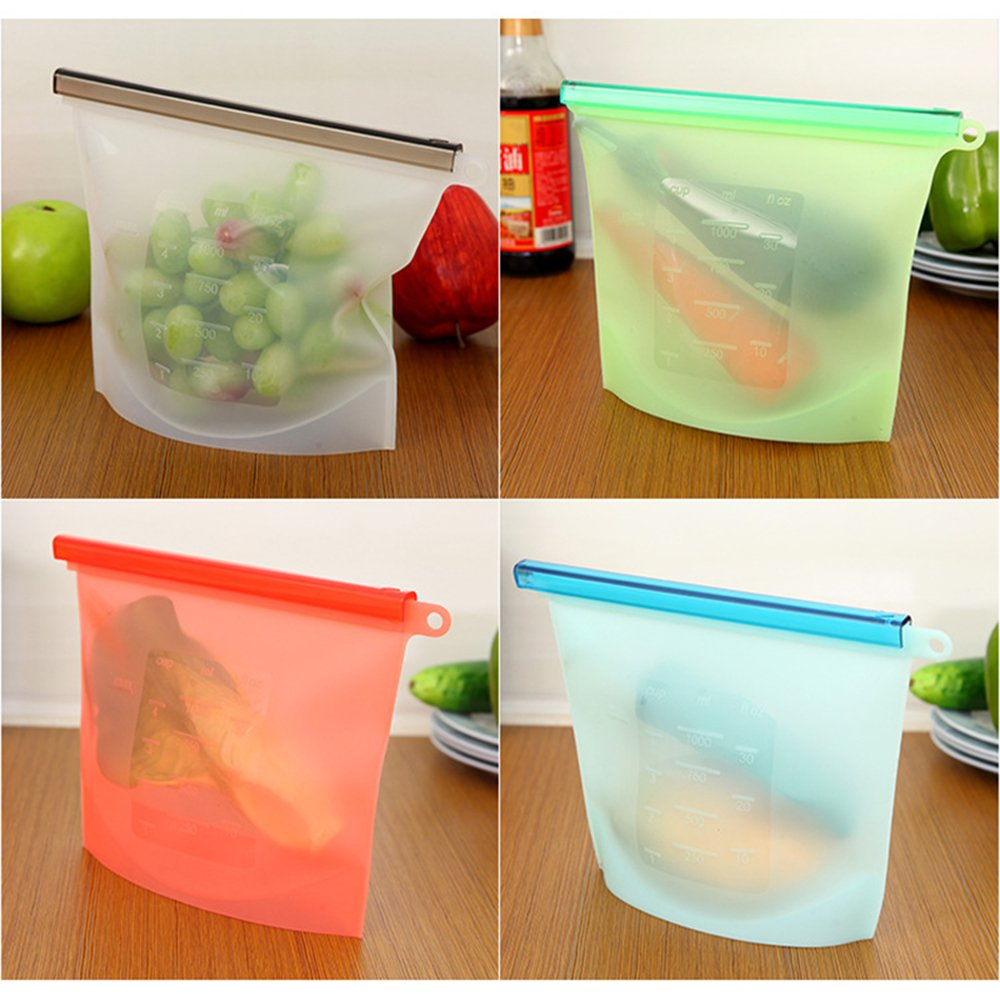 4 Pack Reusable Silicone Food Storage Bags Preservation Bags Container,Wivarra Food Grade Versatile Cooking Bag for Freeze, Steam, Heat, Microwave Fruits Vegetables Meat Milk