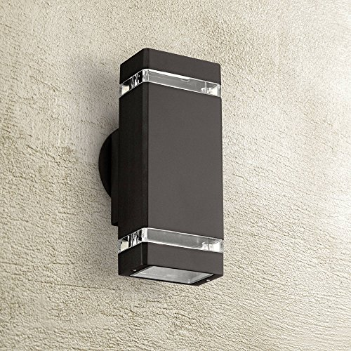 "Modern Outdoor Wall Light Fixture Halogen Bronze 10 1/2"" Rectangular Clear Glass Up Down for Exterior House Porch Patio - Possini Euro Design"