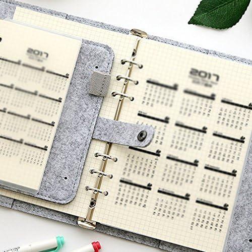 LYCOS3 A5/A6 Filz-Notizbuch, lose Blätter, nachfüllbar, 6 runde Ringbucheinband, Füllpapier, Handschrift, Übungsseite, Geschenk, Schreibwaren mit Visitenkartenfach, hellgrau, A5