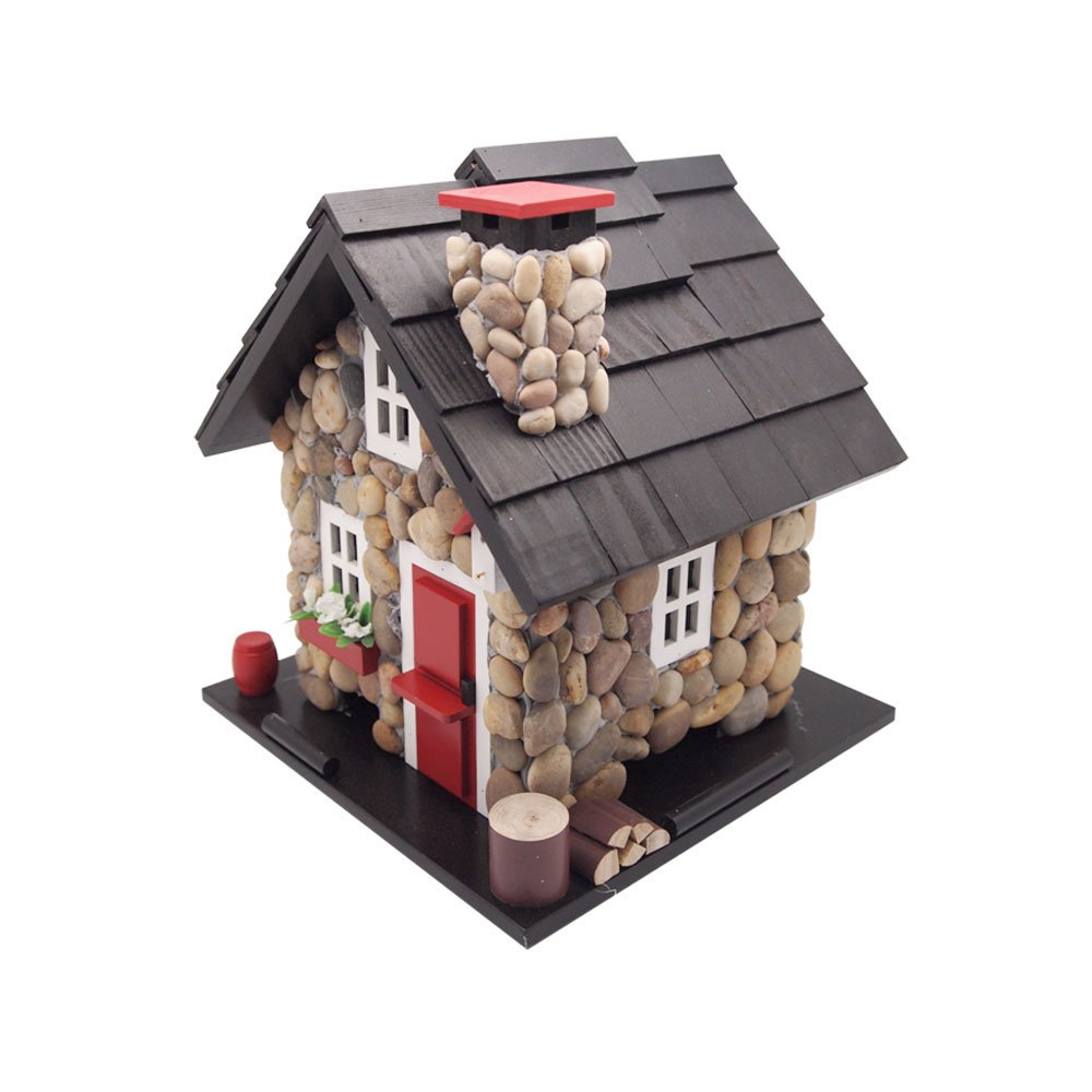 Home Bazaar Windy Ridge Bird Feeder, Stone/Red/Black by Home Bazaar, Inc.