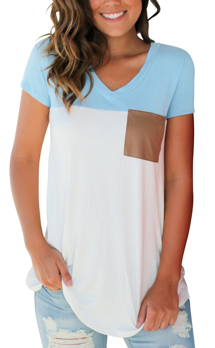 Casual Short Sleeve T Shirt for Women Suede Pocket Tee Top Blouse Light Blue M