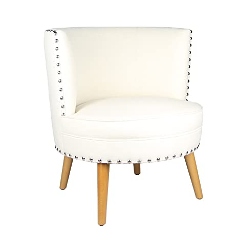 Joveco Fabric Leisure Accent Chair With Nailhead Design Round Back, Merino  White