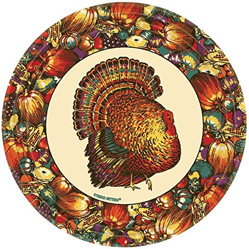 "Autumn Turkey Thanksgiving Round Dessert Paper Plates Party Tableware, 7"" Pack of 12"