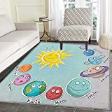 Space Rugs for Bedroom Cute Cartoon Sun and Planets of Solar System Fun Celestial Chart Baby Kids Nursery Theme Circle Rugs for Living Room 2'x3' Multi