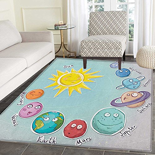 Space Rugs for Bedroom Cute Cartoon Sun and Planets of Solar System Fun Celestial Chart Baby Kids Nursery Theme Circle Rugs for Living Room 2'x3' Multi by smallbeefly