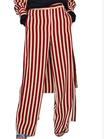 49bf82f5 Zara Striped Trousers BNWT Maroon L at Amazon Women's Clothing store: