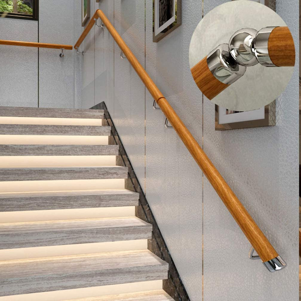 Barandilla de Escalera de Madera Montada en la Pared, Kit de Pasamanos de Escalera con Soporte de Acero Inoxidable, Villa/Jardín, Soporte de Barandilla de Escalera, Φ5cm (2 in): Amazon.es: Hogar