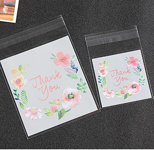 Saasiiyo 100pcs Beautiful cookie bags wedding party decoration Thanksgiving cookies biscuit snack packing candy bag