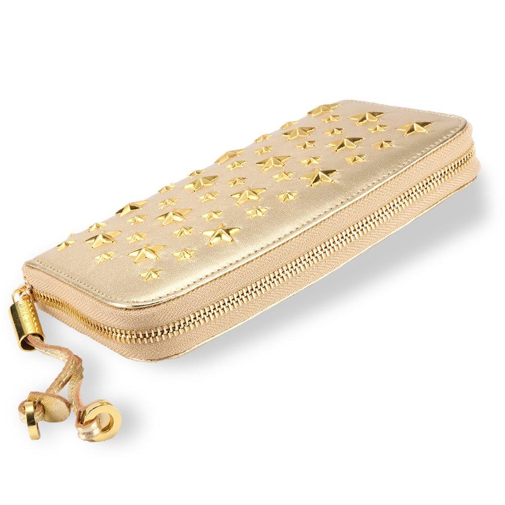 ジミーチュウ 財布 レディース 長財布 ラウンドファスナー スター スタッズ 星 レザー ウォレット Star rivet [並行輸入品] B07FKHH758 golden golden