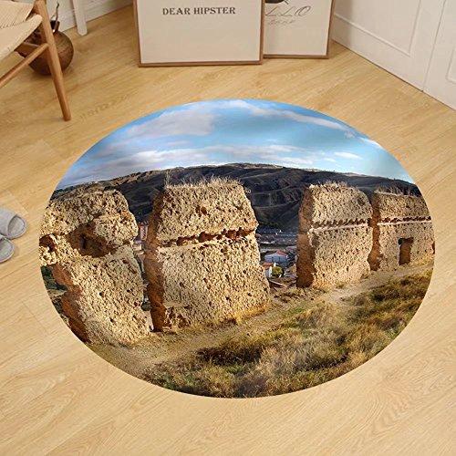 Gzhihine Custom round floor mat Image of Medieval Town Daroca Teruel Aragon Spain by Gzhihine