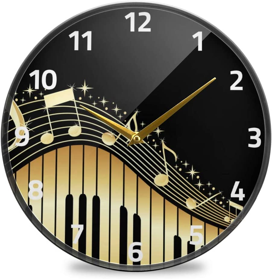 ALAZA Music Notes with Piano Keys Wall Clock Battery Operated Silent Non Ticking Clocks for Living Room Decor 12 Inch / 9.5 Inch