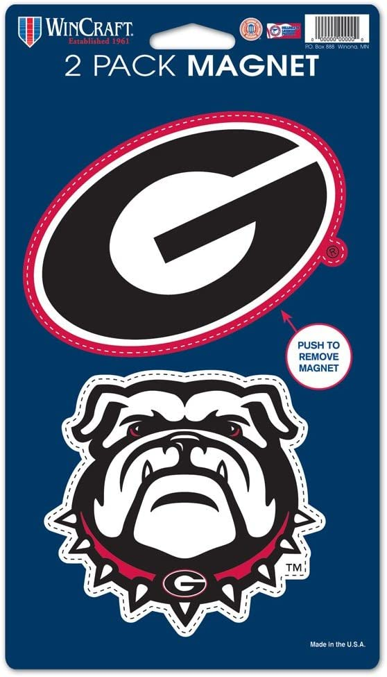 "WinCraft NCAA University of Georgia WCR29038014 Magnets (2 Pack), 5"" x 9"""