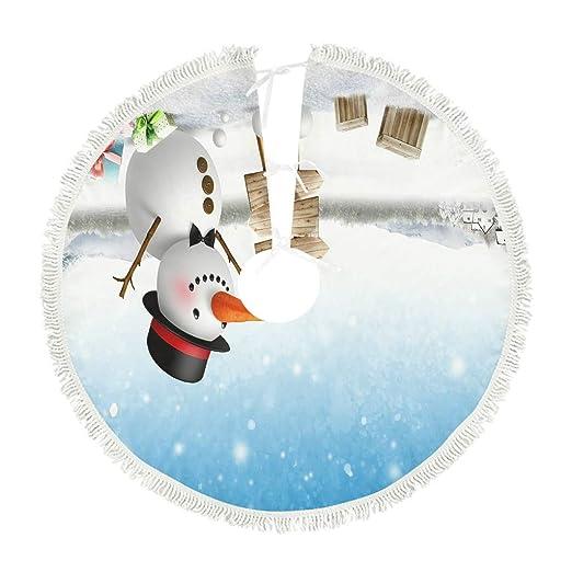 kikomia - Falda navideña con muñeco de Nieve, Color Azul y Blanco ...