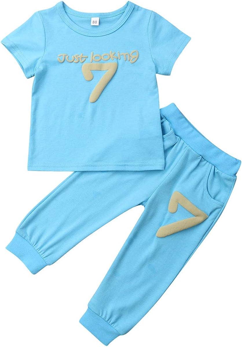 2pcs Toddler Baby Boys Girl Kids Cotton Clothes T-shirt Tops+Pants Outfits Set