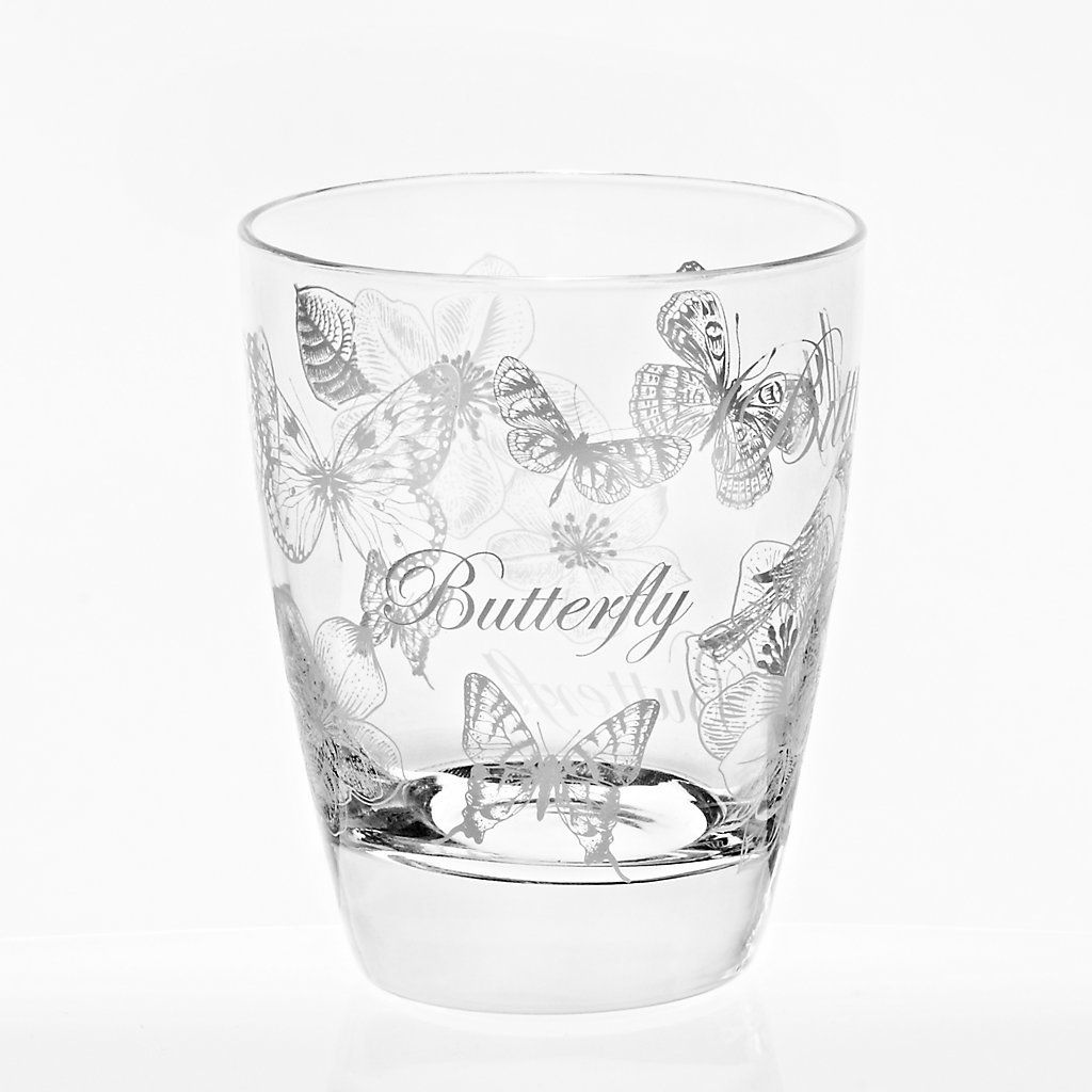 Water Glass Butterfly ''Nadia'' 300ml, transparent, modern style, glass (GERMAN CRYSTAL powered by CRISTALICA)