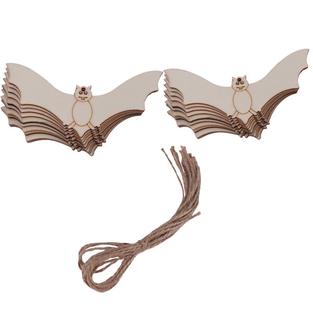 Amosfun 20pz Ornamento Appeso in Legno Etichette Regalo a Forma di Pipistrello Abbellimenti Appesi Ornamenti per Halloween Fai da Te