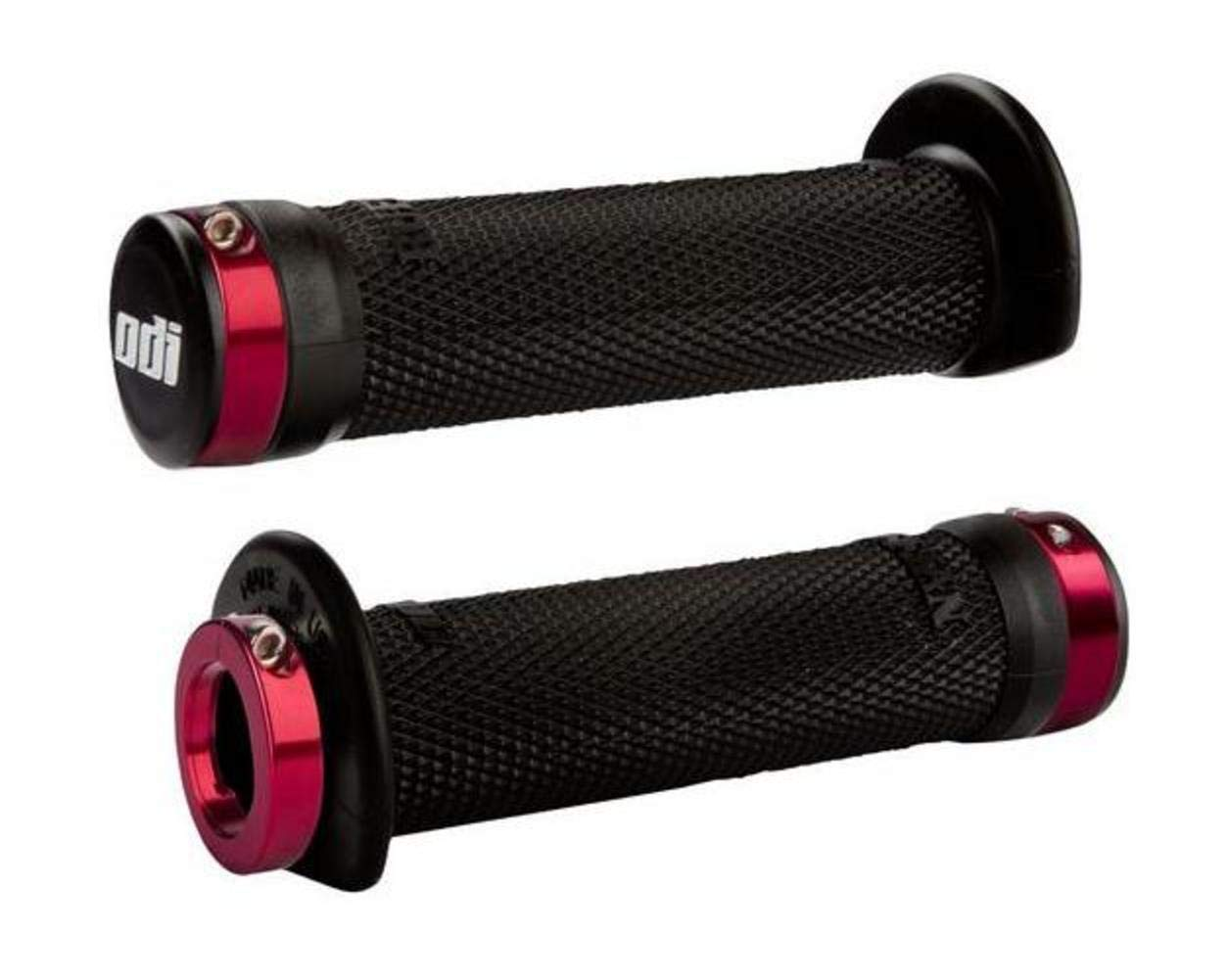 ODI J31RFB-R 120mm Ruffian ATV Lock-On Grips - Red Clamp