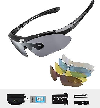 ROCKBROS Lunette de Sport Polarisées Homme Lunette VTT Homme Protection UV400 Lunette de Soleil Noir pour Vélo VTT Pêche Course avec 5 Verres