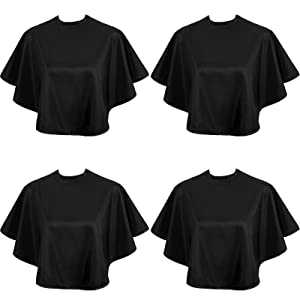 4 Pieces Makeup Cape Short Makeup Cape Waterproof Comb-Out Cape Salon Hairdressing Cape Makeover Bib for Beauty Salon and Home Use (Black)