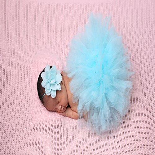 JISEN Baby Newborn Photography Prop Baby Girl Infant Lovely Costume TuTu Dress with Flower Headband 0-3 (Dance Costumes Purchase)