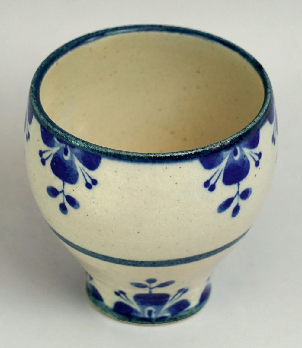Mino ware Japanese Pottery Yunomi Chawan Tea/Wine Cup Rosemary Navy Blue made in Japan by T-Family (Image #2)