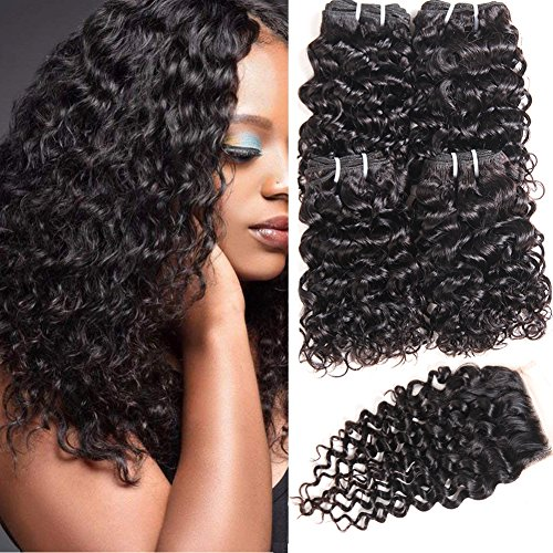 Beauty : PANEWAY Malaysian 10A Water Wave Hair 4 Bundles with Closure Unprocessed Virgin Hair Weave with 4x4 Lace Top Closure 100% Human Hair 50g/pc Bundles Remy Hair Extensions Natural Black (10 10 10 10 +8)
