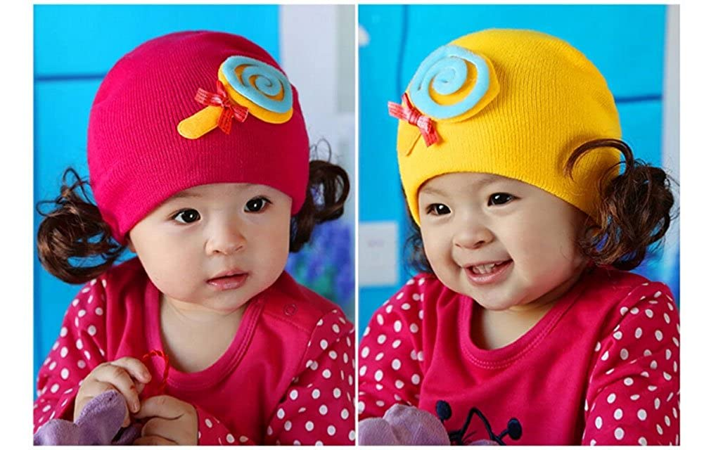 Cute Elasticity Baby//Kid//Toddle Soft Hairpiece Knit Hat,15-21 YELLOW Lolipop