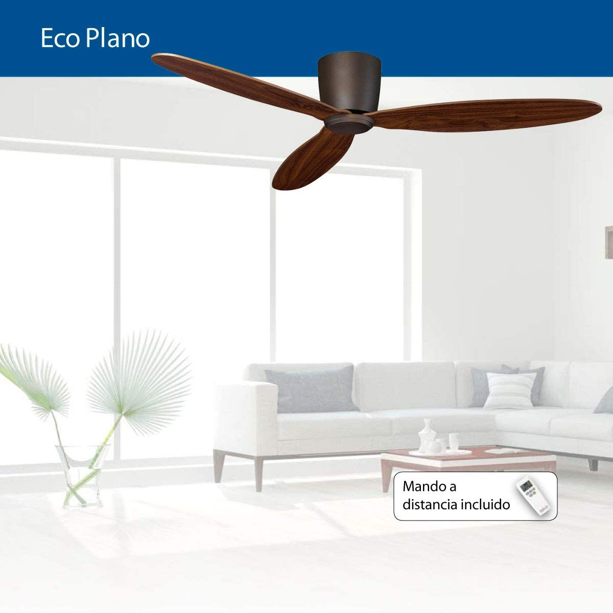 Ventilador de techo CasaFan 313262 ECO PLANO nogal/marron: Amazon ...