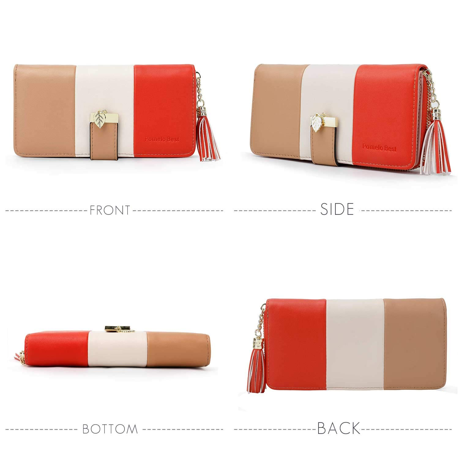 Orange Wallets for Women with Multiple Card Slots and Fit Cellphone