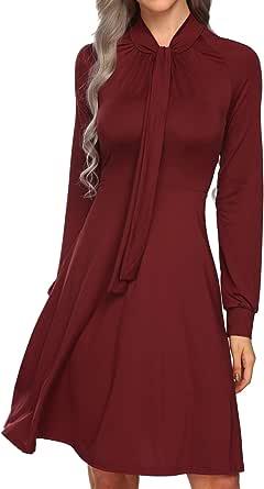 SE MIU Women Long Sleeve High Waist Solid Pleated A-line Tie Bow Swing Midi Dress