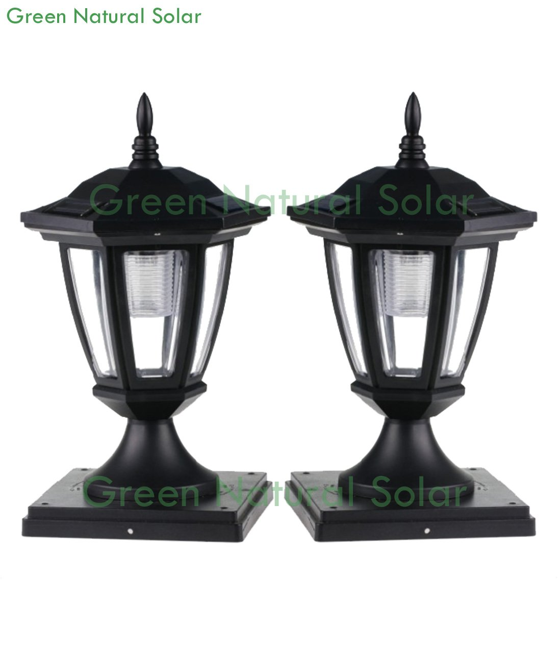 4-Pack BLACK Solar Hexagon Post Cap Lights with WHITE LEDS for 6X6 Fence Post - GREEN NATURAL SOLAR