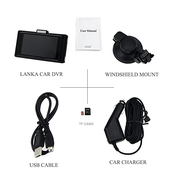LANKA® Super HD 1296P - Videocámara para coche (visión nocturna, sensor de movimiento, G-sensor y 32 GB de almacenamiento), color negro: Amazon.es: ...