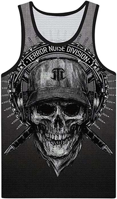4f318555866a6 vermers Clearance Deals Fashion Skull Tank Top for Men - Summer Casual 3D  Printed Muscle Sleeveless