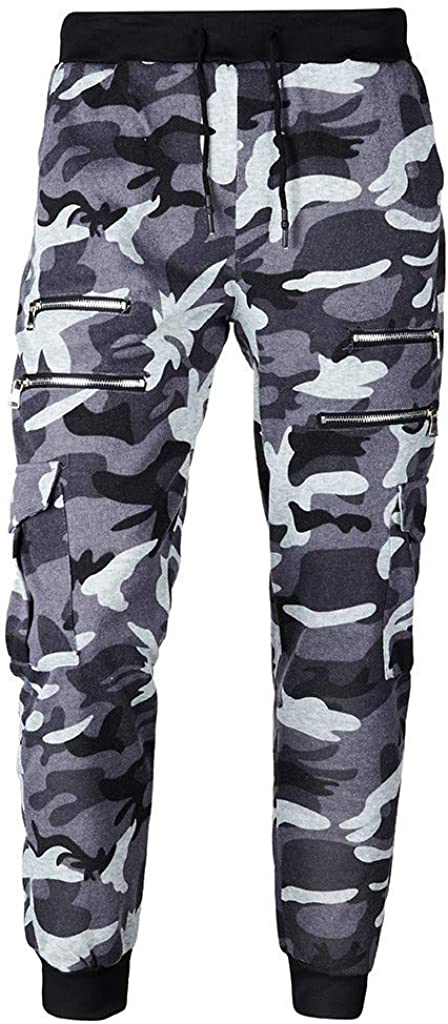 SUMTTER Pantaloni Tuta Uomo Camo Pants Man Sportive Pantaloni Cargo Uomo Slim Fit con Zip Pantaloni da Lavoro Uomo Taglie Forti