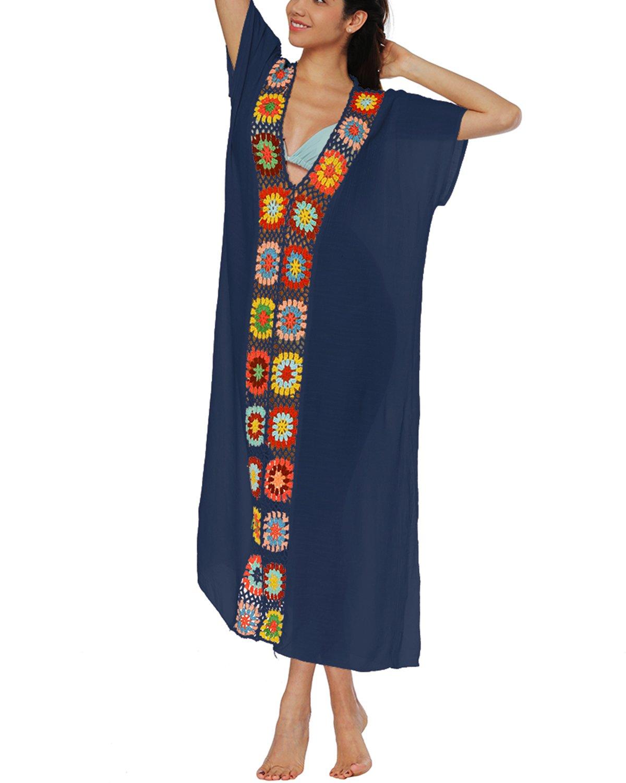 sankill Women's Swimwear Cover Ups Long Beach Dresses V Neck Cotton Tassel Crochet Bikini Cover up (Navy Blue)
