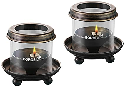 Borosil Antique Diya Lights (Medium, Set of 2)