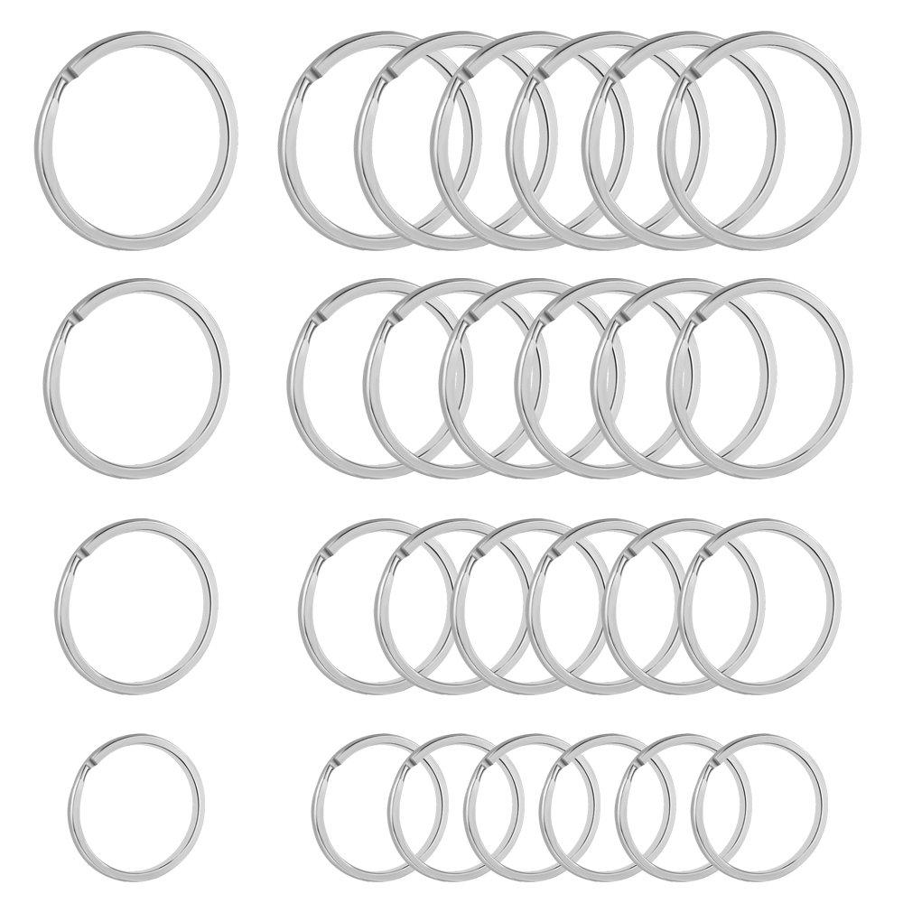 40 pcs Round Flat Key Chain Rings Metal Split Ring Split Key Chain Ring Connector for Home Car Keys Organization Silver