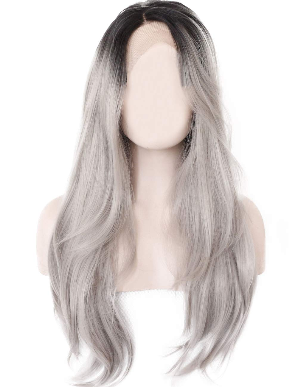 K'ryssma Ombre Gray 2 Tones Synthetic Lace Front Wig Dark Roots Long Natural Straight Silver Grey Replacement Hair Wigs For Women Heat Resistant Fiber Hair Half Hand Tied 22 Inches by K'ryssma