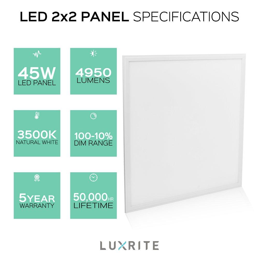 Luxrite LED Light Panel, 2x2 FT, 45W, 3500K Natural White, 4950 ...
