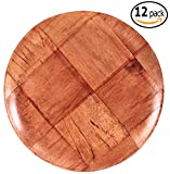 Woven Wood Salad Plates with Pan Scraper (12-Pack, 8 Inch)