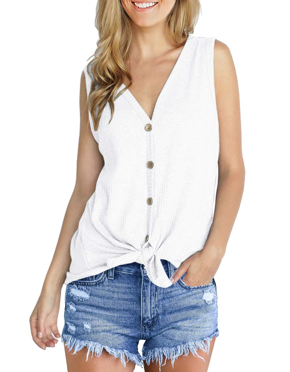 IWOLLENCE Womens Loose Henley Blouse Sleeveless Button Down T Shirts Tie Front Knot Tops White L