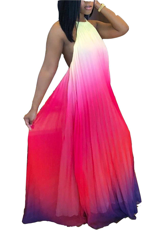 WentShopping Women Halter Neck Boho Maxi Dress Sexy Backless Full Length Dresses (Medium, Chiffon Pink)