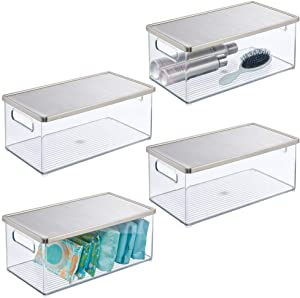 mDesign Bathroom Stackable Storage Box with Handles, Steel Lid - Holds Soap, Body Wash, Shampoo, Lotion, Conditioner, Hand Towels, Hair Accessories, Body Spray - 15