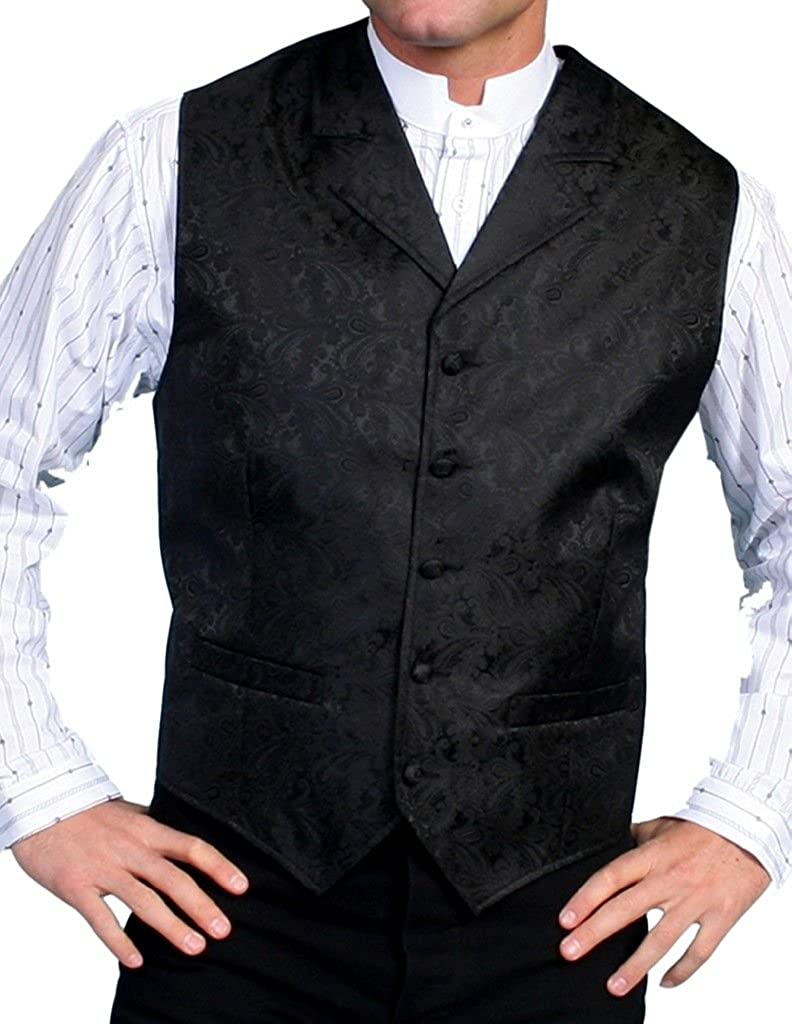 Men's Vintage Vests, Sweater Vests Scully Rangewear Mens Rangewear Paisley Button Vest - Rw093 Pur $44.85 AT vintagedancer.com