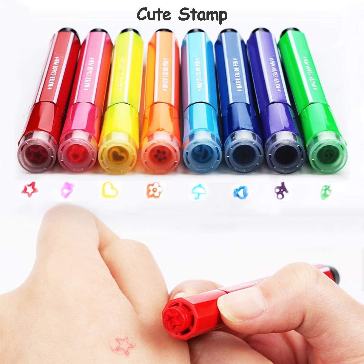 scarabocchiare e colorare Magicdo 24 colori penne ad acquerello con timbri pennarelli lavabili non tossici colorati per bambini da disegno pink