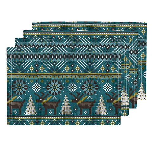 (Reindeer Fair Isle 4pc Eco Canvas Cloth Placemat Set - Winter Christmas Scandi Knit Look Snowflake Nordic Whimsical by Heatherdutton (Set of 4) 13 x 19in)