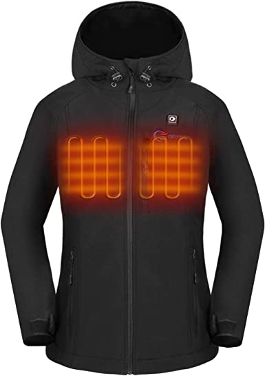 USB Charging Electric Body Warmer Electric Heated Hooded Coat LLQQ Heated Jacket for Women Washable and Lightweight for Outdoor Activities with 3 Heating Area Temperature Adjustable